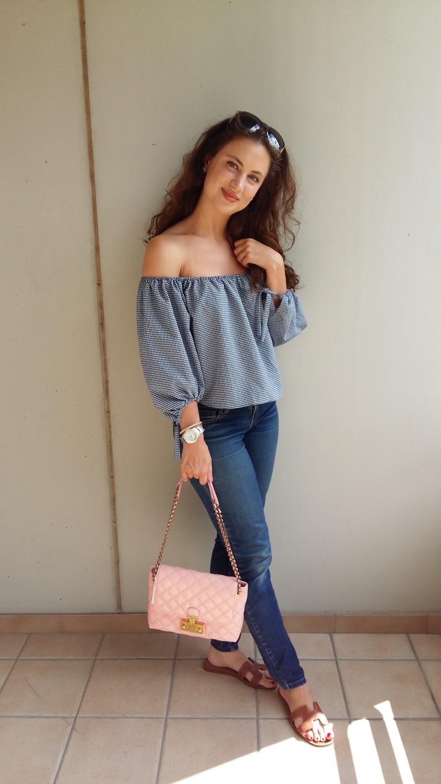 blogger, swiss blogger, ots, off the shoulder, gingham, zara, marc jacobs, pink handbag, marc jacobs baroque