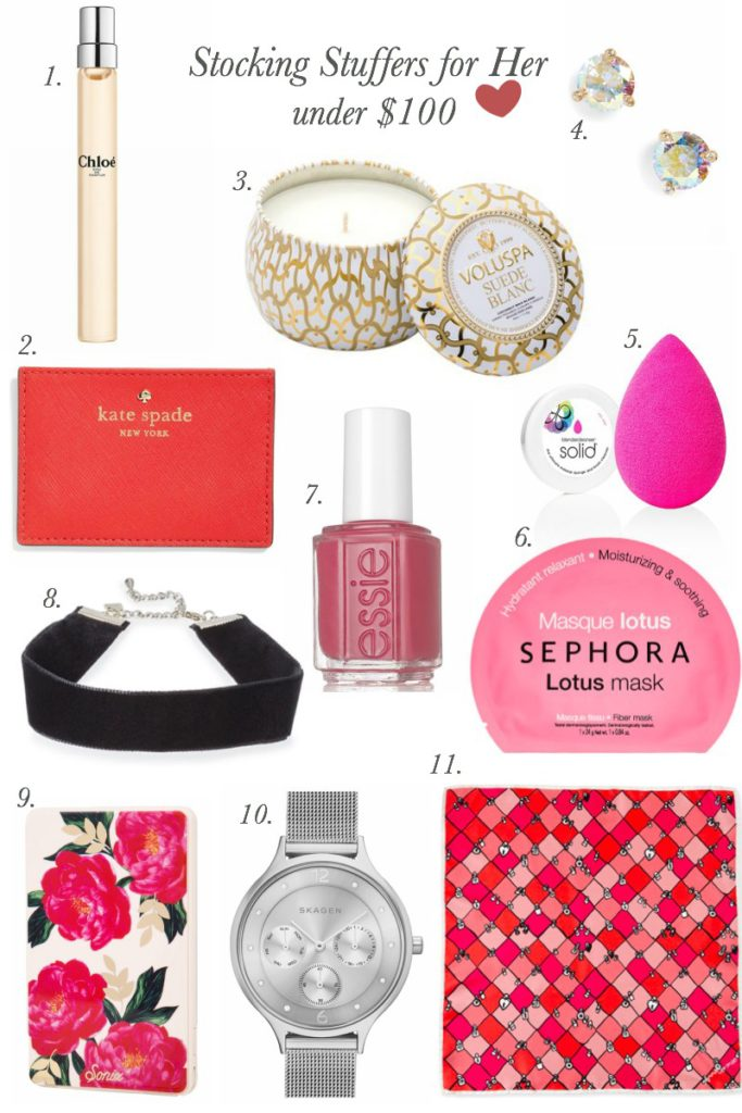 stocking stuffer, christmas, what to get her, nordstrom, kate spade, sephora, voluspa, chloe, gifts
