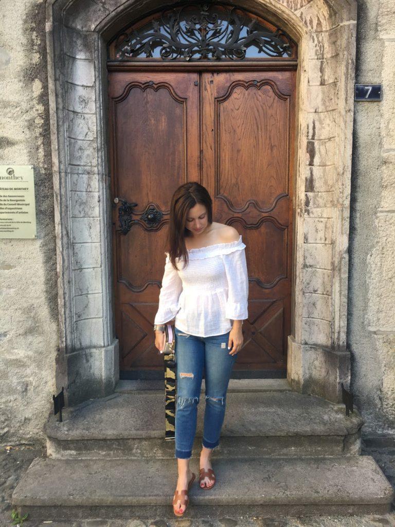 off the shoulder, white blouse, zara, summer, marc jacobs, marc jacobs snapshot handbag, blogger, swiss blogger, hermes oran sandals