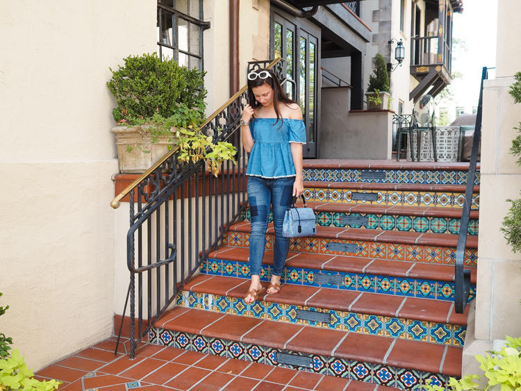 Cristina from The Brunette Nomad, Dallas fashion blogger living in Switzerland, shares on her blog a denim on denim look