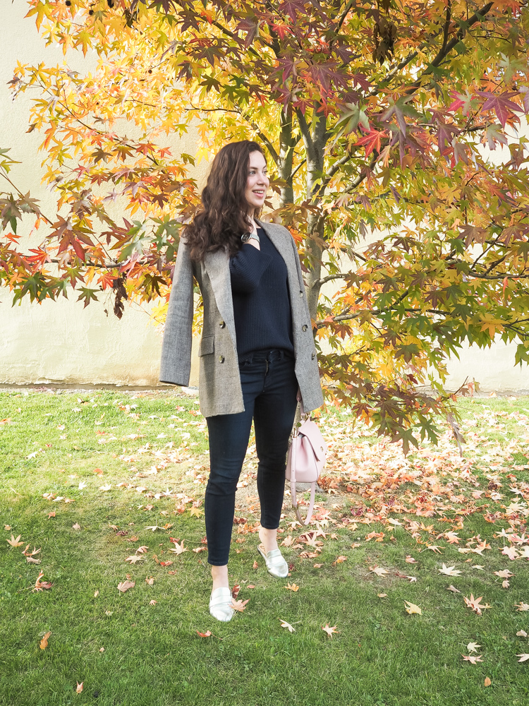 Cristina from The Brunette Nomad, Dallas fashion blogger living in Switzerland, is talking about her love of plaid and the one blazer you will need this season