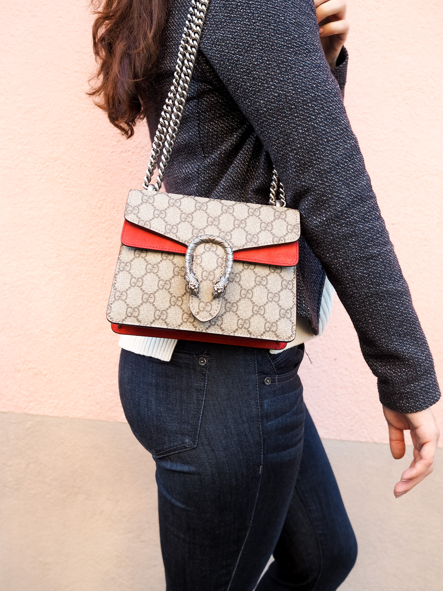 Cristina from The Brunette Nomad, a Dallas fashion blogger living in Switzerland, reveals her Gucci Dionysus Mini on the blog