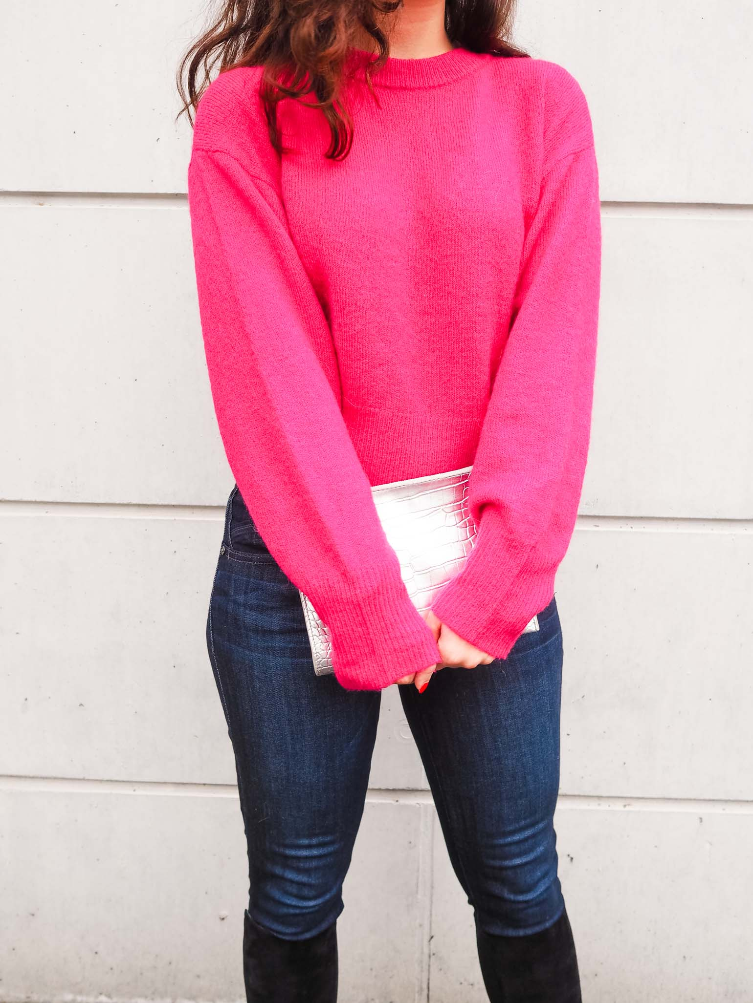 How to Tone Down A Hot Pink Sweater - The Brunette Nomad