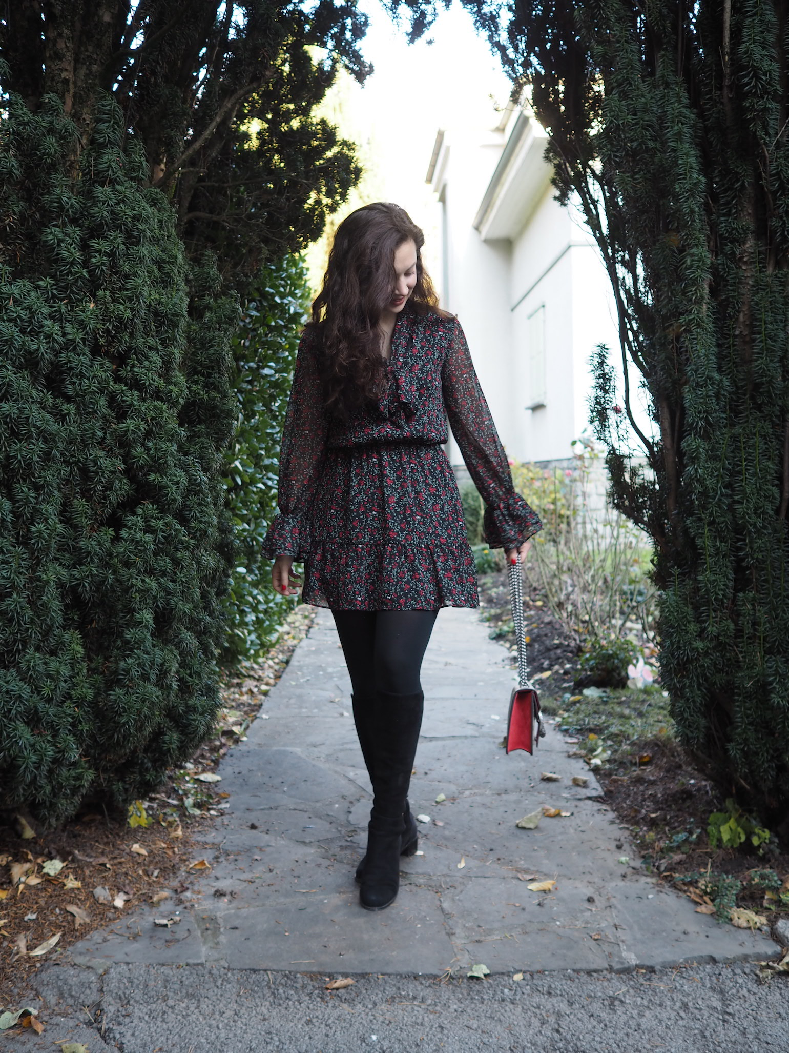 Winter Mini Dress, Stuart Weitzman Boots, Gucci Dionysus