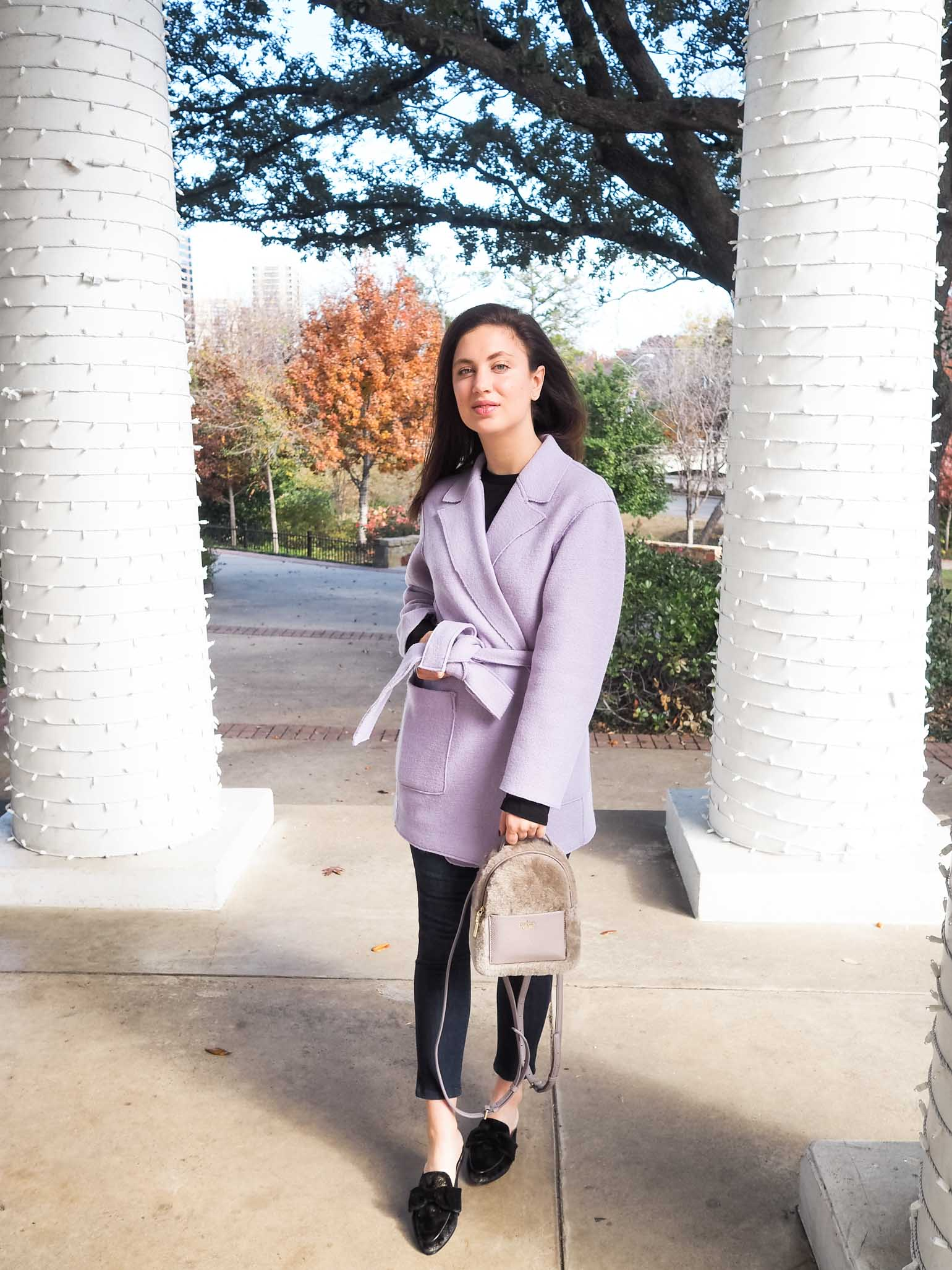 Cristina from The Brunette Nomad, Dallas fashion blogger, shows how to style this Kate Spade mini backpack