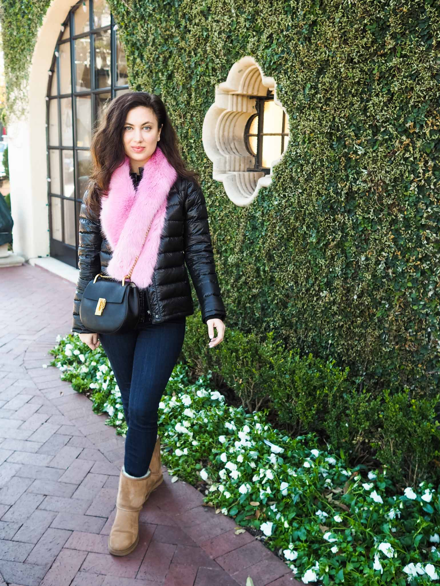 Cristina from The Brunette Nomad, Dallas fashion blogger, reveals her new Chloe Drew Handbag in a winter faux fur look