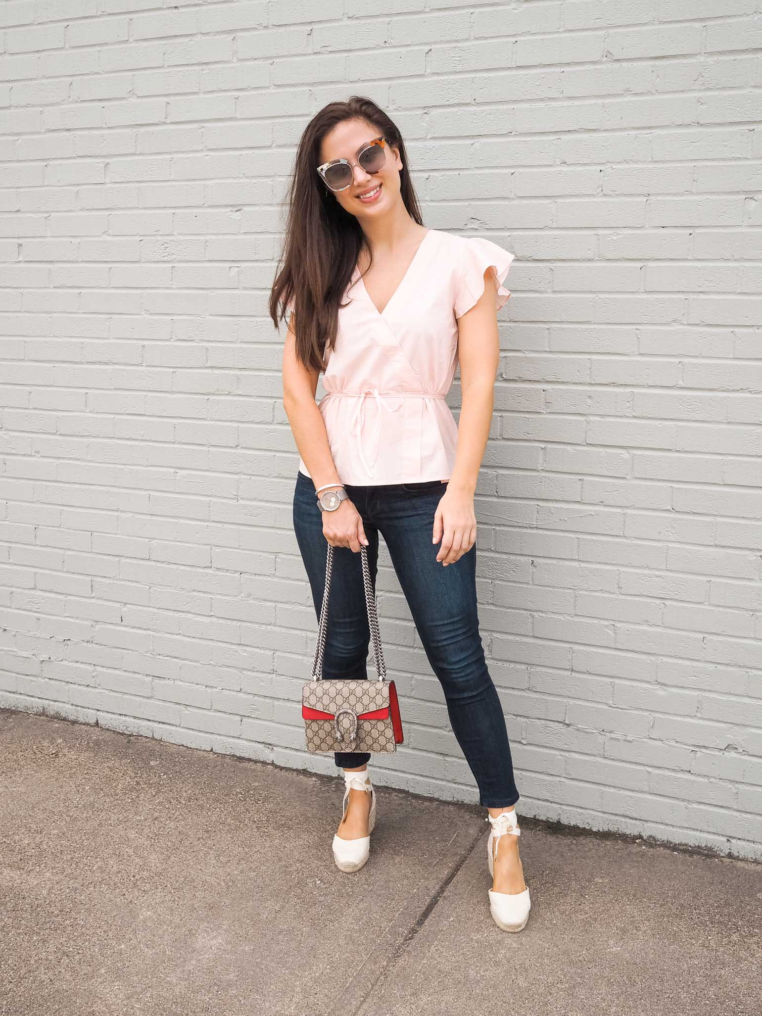 f75512194853 Transition your Summer Outfit From Day to Night  Ruffle Sleeve Blouse ·  Dallas fashion blogger style  J.Crew ruffle sleeve blouse